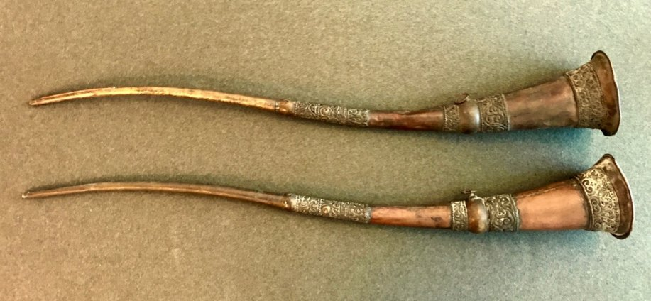 "Trumpets Used In Film ""Lost Horizon"" - Tibetan Curved Temple Trumpets. - (5534)"