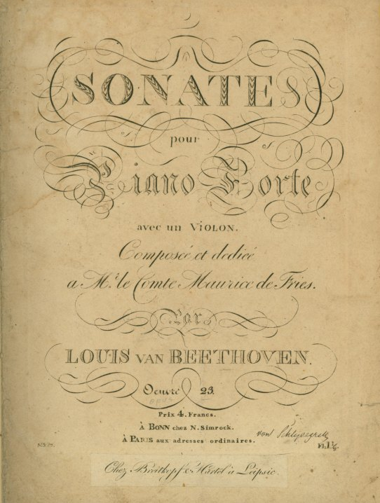Beethoven, Ludwig Van - Sonata For Violin & Piano, Op.  23, Sonate Pour Piano Forte Avec... - (4875)