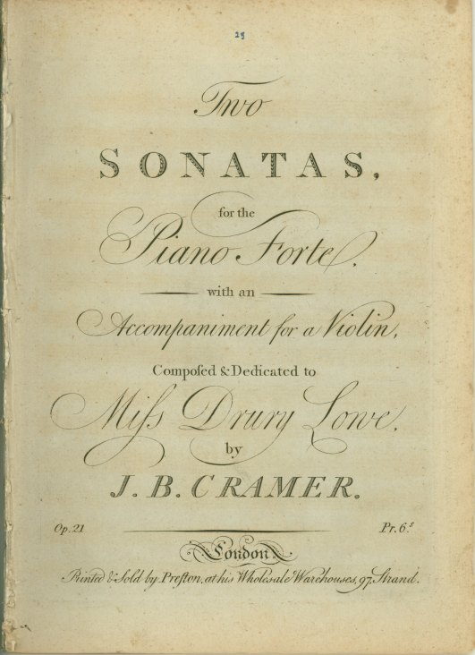 Cramer, J.B. - Two Sonatas For The Piano Forte With An Accompaniment For A Violin. Op. 21. - (6148)