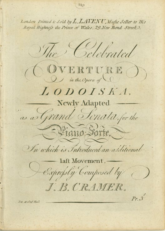 Cramer, J.B. - The Celebrated Overture In The Opera Of Lodoiska, Newly Adapted As A Grand... - (6132)