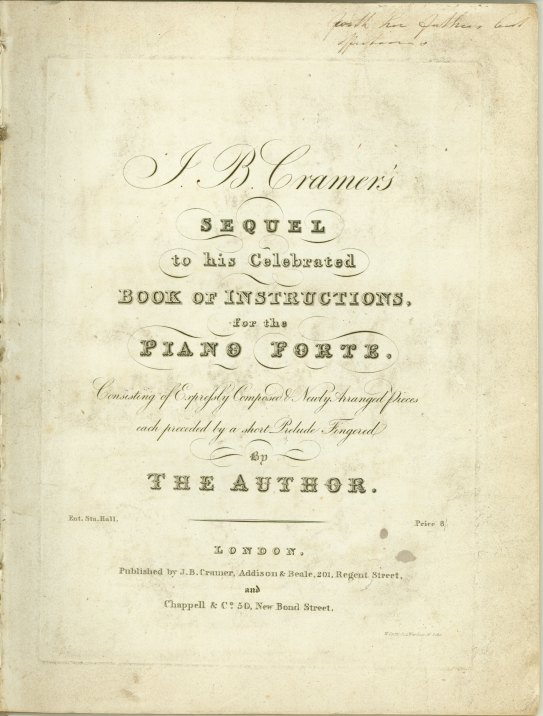 Cramer, J.B. - J.B. Cramer's Sequel To His Celebrated Book Of Instructions For The Piano Forte... - (6152)