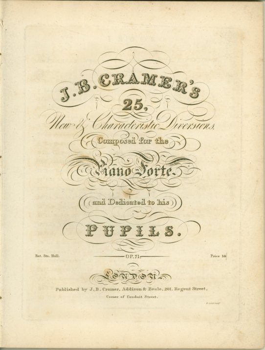 Cramer, J.B. - J.B. Cramer's 25, New & Characteristic Diversions, Composed For The Piano Forte... - (6151)