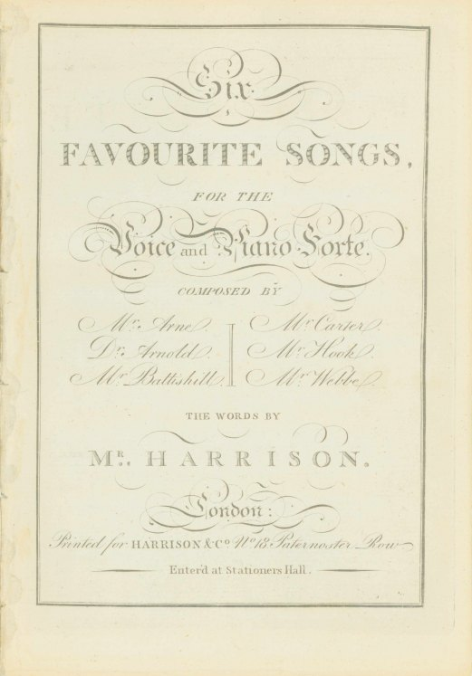Eighteenth-century Songs - Six Favourite Songs, For The Voice And Piano Forte. The Words... - (7044)