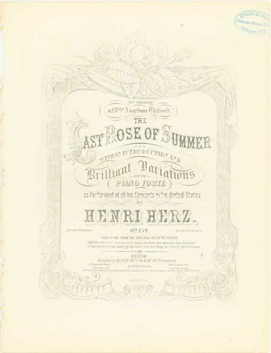Herz, Henri - The Last Rose Of Summer, With An Introduction And Brilliant Variations For The... - (6624)
