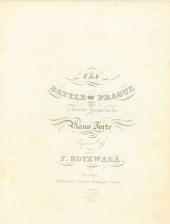 Kotzwara, Francis - The Battle Of Prague, A Favorite Sonata For The Piano Forte. - (6663)