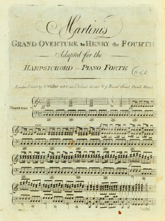 Martini, Giovanni - Martini's Grand Overture To Henry The Fourth, Adapted For The Harpsichord... - (6697)