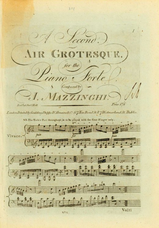 Mazzinghi, Joseph - Air Grotesque, For The Piano Forte. Nos. 1-3. - (6667)