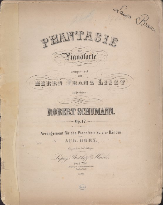 "Schumann, Robert - Fantasie For Piano, Op. 17, Arranged, ""Phantasie Für Pianoforte... - (2124)"