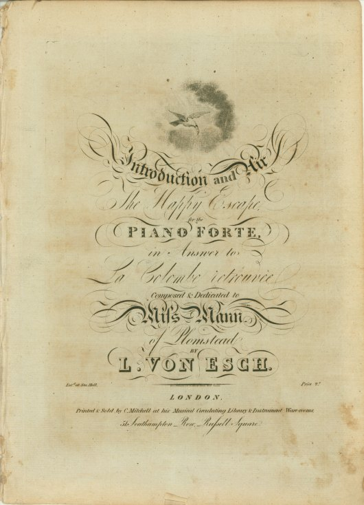 Esch, Louis Von - Introduction And Air, The Happy Escape, For The Piano Forte, In Answer... - (6182)