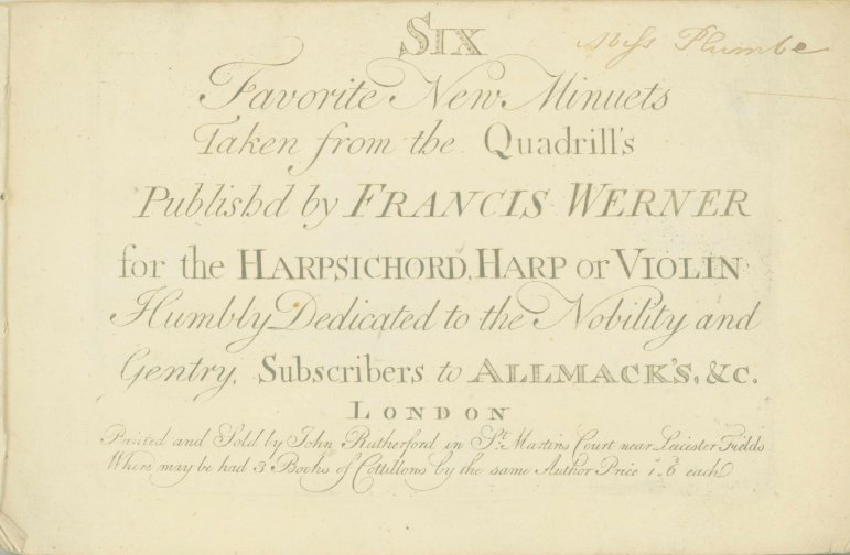 Werner, Francis - Six Favorite New Minuets Taken From The Quadrill's, For The Harpsichord, Harp... - (7236)