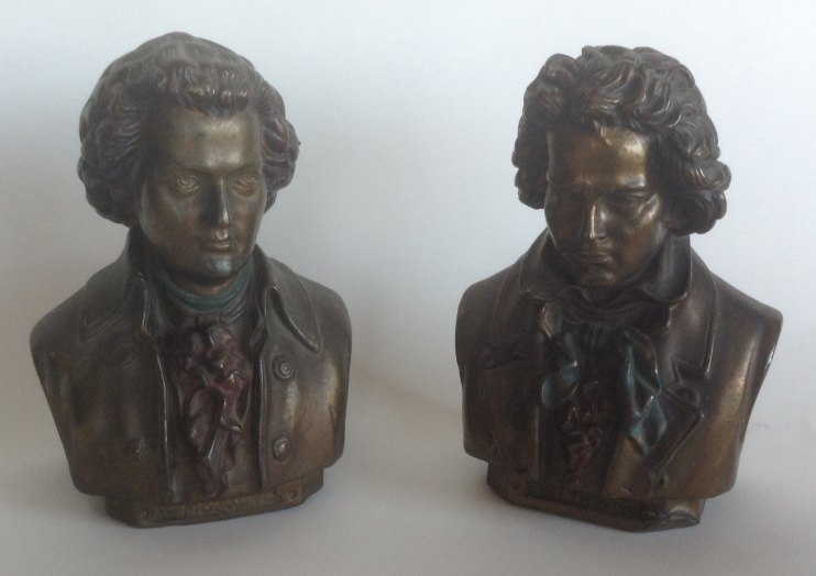 Beethoven And Mozart Metal Bookends - (4911)