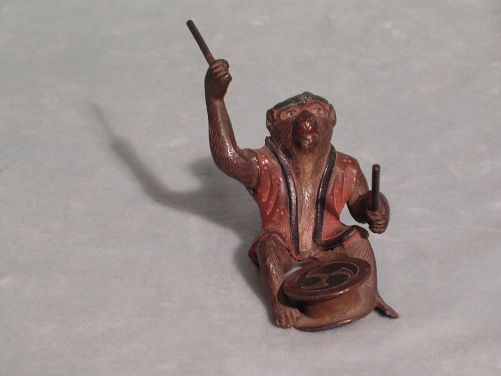 Japanese Bronze Monkey Figurines With Instruments - (591)