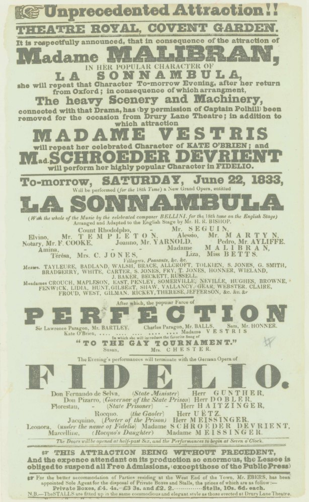 Malibran And Vestris Broadside - Covent Garden Announcement For Performances Of Bellini And... - (6940)