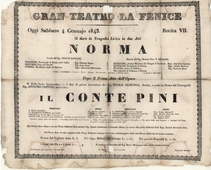 Bellini, Vincenzo - Rare Venetian Broadside Of Norma. - (6992)