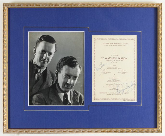 Britten, Benjamin - Signed Program. - (4942)