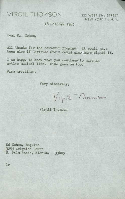 "Thomson, Virgil - ""Mother Of Us All"" Program Signed ""Virgil Thomson"". - (5822)"