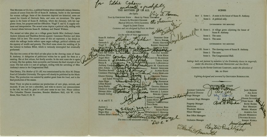 "Thomson, Virgil - ""Mother Of Us All"" Program Signed ""Virgil Thomson"". - (5823)"