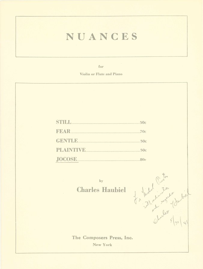 Haubiel, Charles - Nuances For Violin Or Flute And Piano. - (7422)