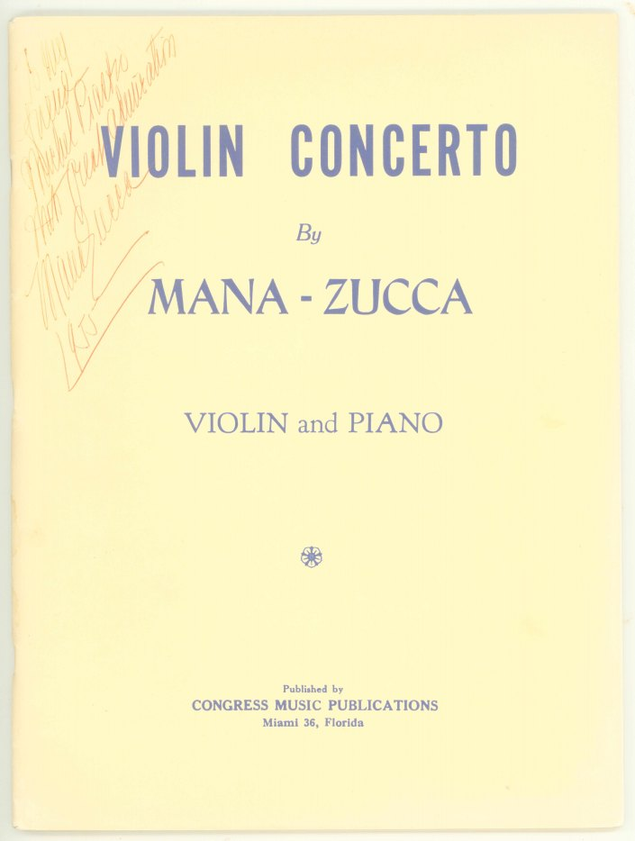 Mana-Zucca - Violin Concerto For Violin, Op. 224. Reduction For Violin And Piano With Separate... - (7537)
