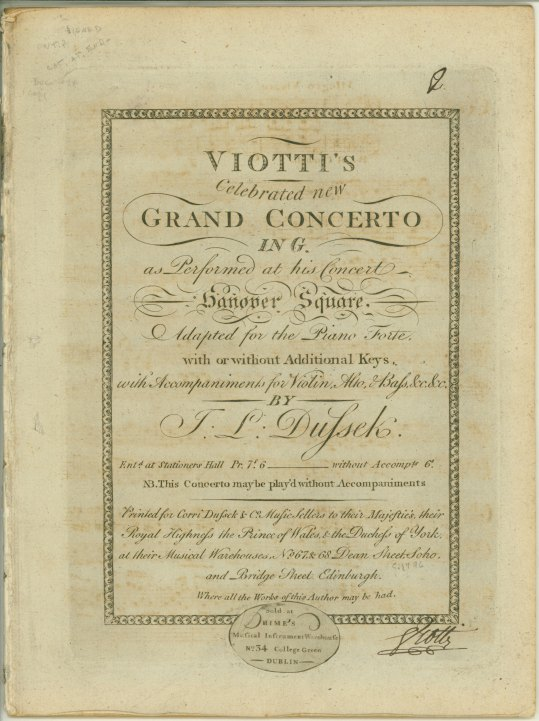 "Viotti, Giovanni Battista - Violin Concerto (White I: 23), Arranged (White Ia: 7), ""Viotti's... - (5907)"
